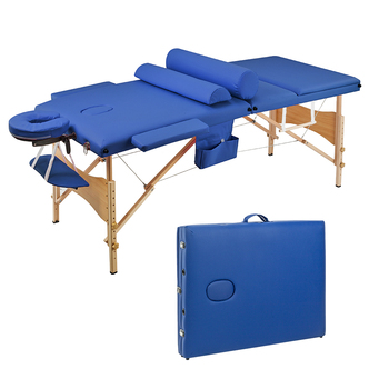 【US Warehouse】3 Sections Folding Portable Beauty Massage Table Set 70CM Wide Blue