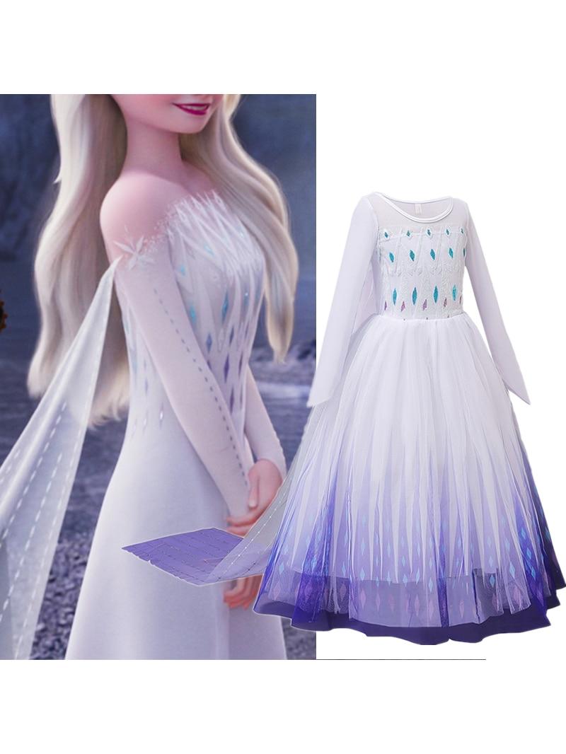 Snow Girls Dress Princess Costume Halloween Carnival Children Dress up Kids Dresses