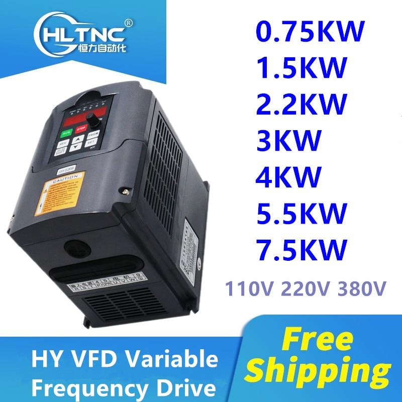 Инвертор HY 0,75 кВт/1,5 кВт/2,2 кВт/4 кВт/5,5 кВт/7,5 кВт преобразователь частоты 3P выход ЧПУ контроллер частоты вращения шпиндельного двигателя VFD пр...