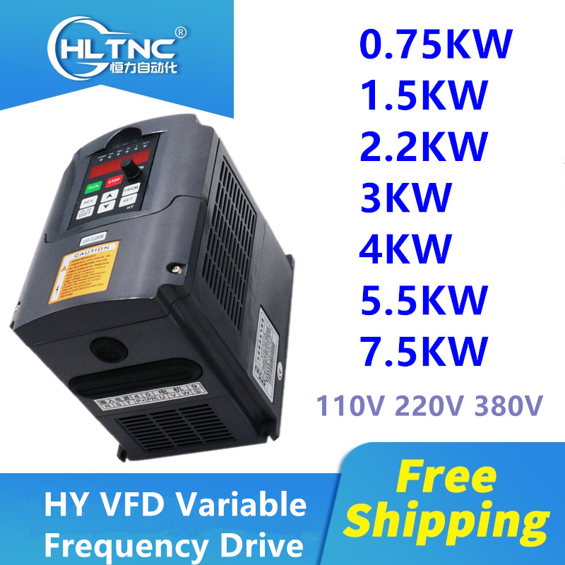 HY Inverter 0.75KW/1.5KW/2.2KW/<font><b>4KW</b></font> /5.5KW/7.5KW Frequency Converter 3P Output CNC Spindle <font><b>motor</b></font> speed Control VFD Converter image