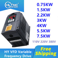 HY Inverter 0.75KW/1.5KW/2.2KW/4KW /5.5KW/7.5KW Frequency Converter 3P Output CNC Spindle motor speed Control VFD Converter