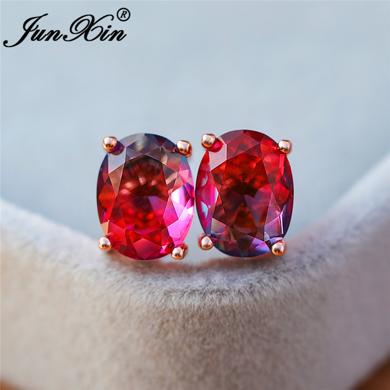 Gradient Mystic Fire Crystal Red Blue Stone Double Earrings Rose Gold Oval Zircon Rainbow Wedding Stud Earring For Women Jewelry