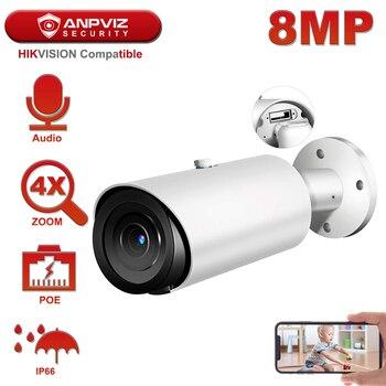 Hikvision совместимая с Anpviz 4K POE ip камера наружная 4X Zoom 2,8 ~ 12 мм цилиндрическая камера видеонаблюдения камера H.265 аудио Micro SD слот