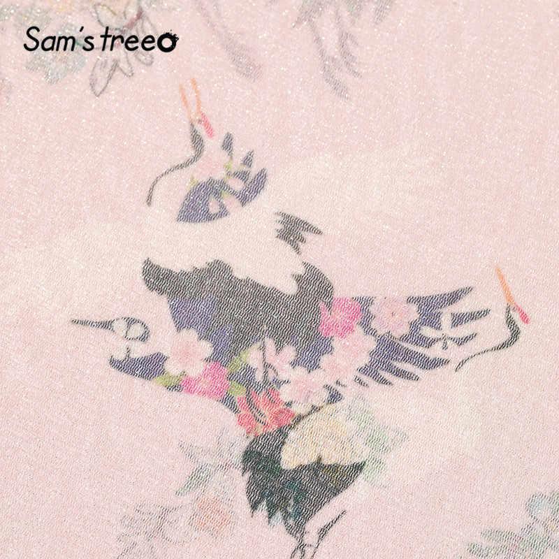 Sam's 木ピンク固体クレーンプリントカジュアル透明メッシュブラウス女性 2020 夏の黒半袖韓国ガーリー毎日トップス