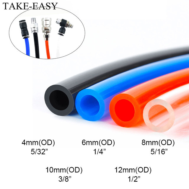 """TAKE-EASY 1m Pneumatic Tube Air Compressor Hose Air Pipe  Compressor Parts Accessories 4/6/8/10/12/14/16mm 1/4"""" Tubing Manifold"""