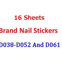 16 folhas d série logotipo colorido adesivos de unhas projetos gommed arte adesivos decalques makep arte decorações