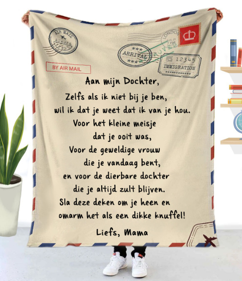 Fleece Blanket to My Daughter Son Wife Letter Printed Quilts Air Mail Blankets Positive Encourage and Love Gifts