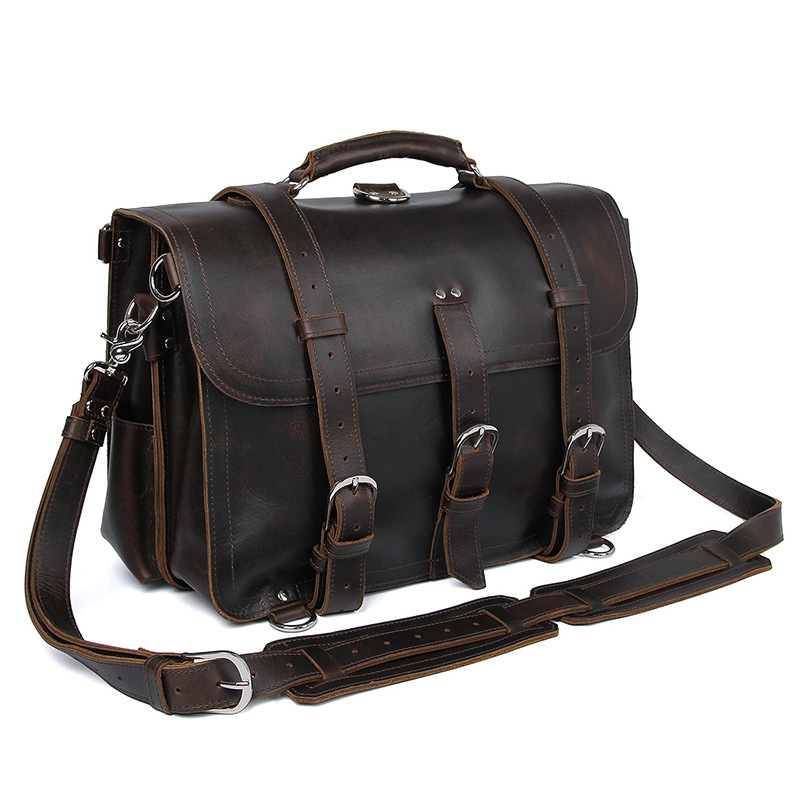 MAHEU Laptop Briefcase Business-Bag Genuine-Leather Outdoor Bag-Pack Roomy Dual-Use Large