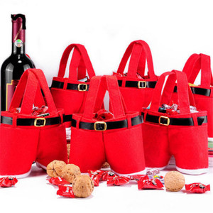 1 PC 2 Size Christmas Buckram Santa Pants Large Handbag Candy Wine Gift Bag Xmas Decor Cheer Gift Treat Candy Wine Bottle Holder