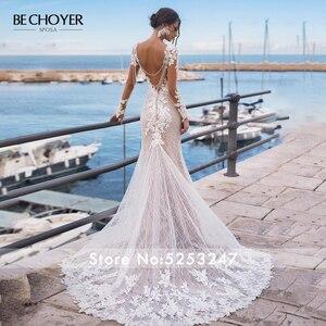 Image 3 - Vestido de novia de manga larga con encaje y apliques de sirena, espalda descubierta con cuentas, 2020