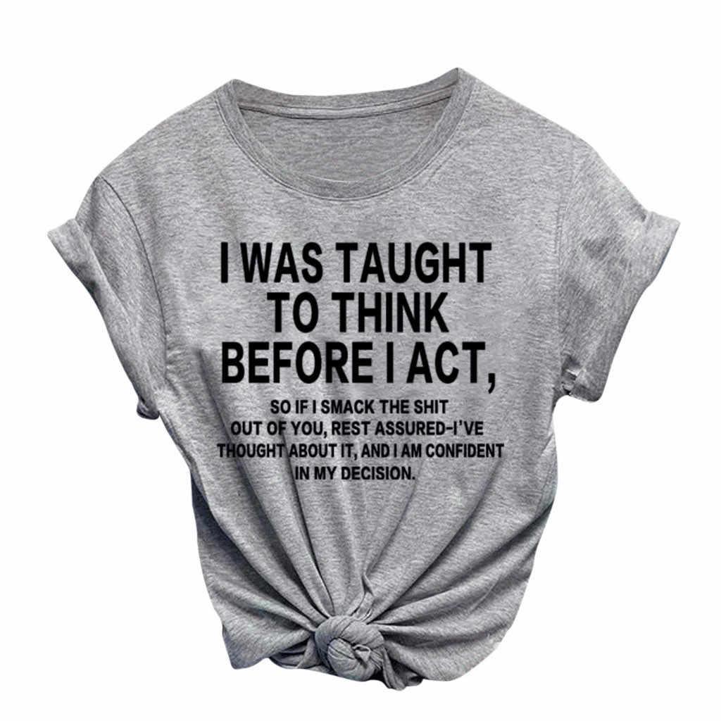 캐주얼 셔츠 나는 내가 행동하기 전에 생각하도록 가르쳤다 Letter Women Tshirt Bowknot 캐주얼 Funny T Shirt 레이디 용 소녀 Top Tee Dropship