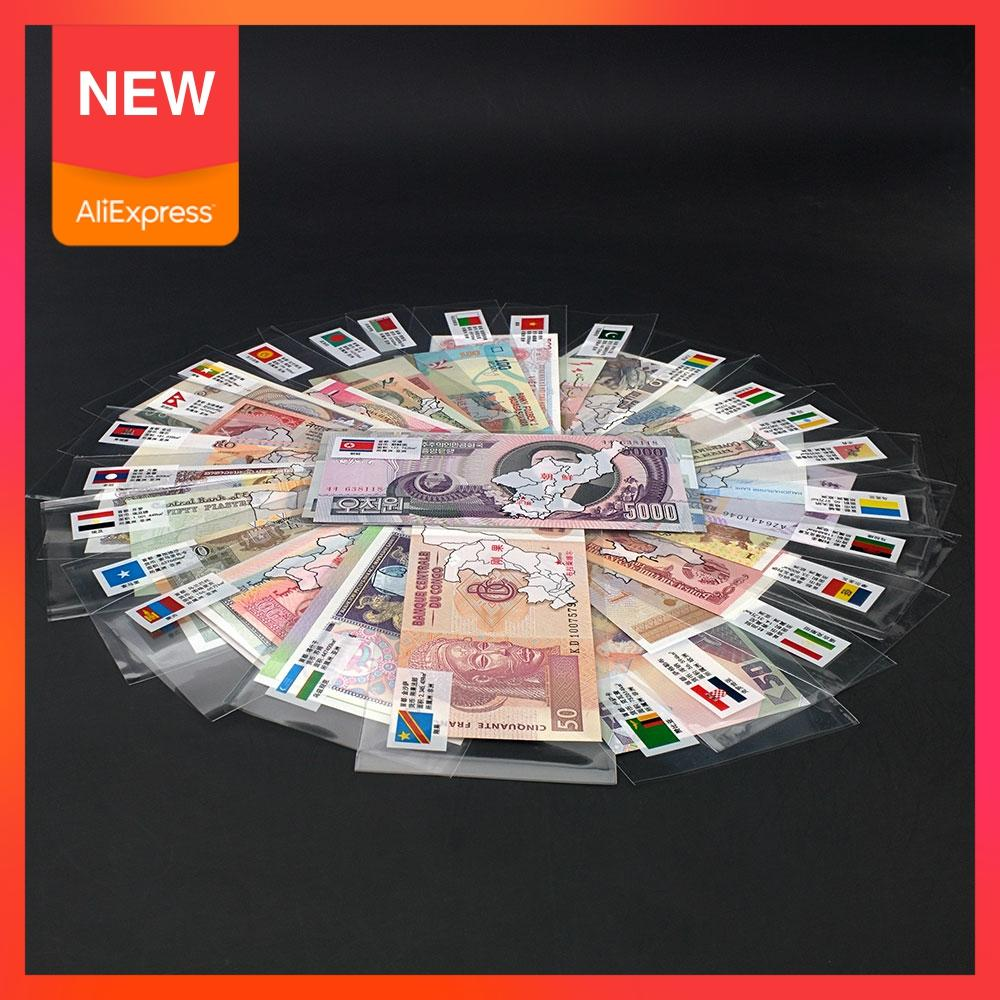 Ayevin 52Pcs Notes from 28 Countries UNC Real Original Banknotes Note with Red Bag Envelope World Note Gift, Collection Notes