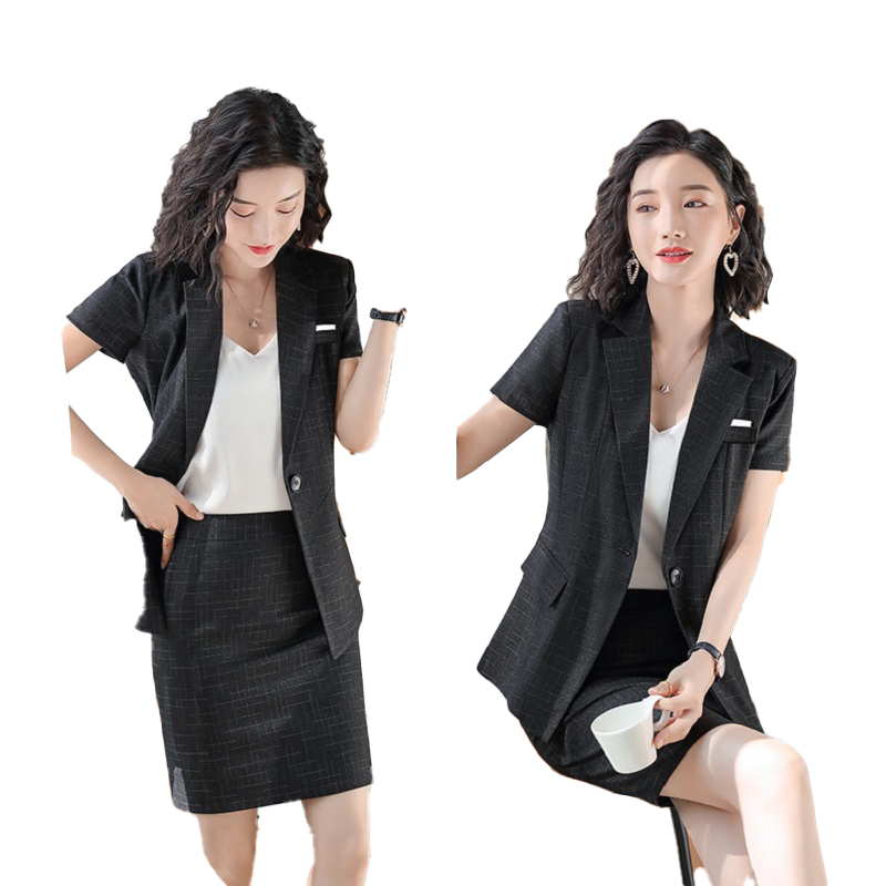 Female Elegant Formal Office Work Wear Summer Black Blazer Women Business Suits with Skirt and Jacket Sets Clothes Ladies Styles