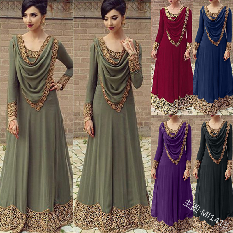 Ethnic Muslim Lace Abaya Hijab Maxi Dress Cardigan Long Robes Jubah Kimono UAE Ramadan Eid Arab Turkey Islamic Kaftan Worship