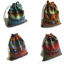Gift Bags Package Chinese Pouches Storage Drawstring Multicolor Cotton X12cm 3pcs Tribal