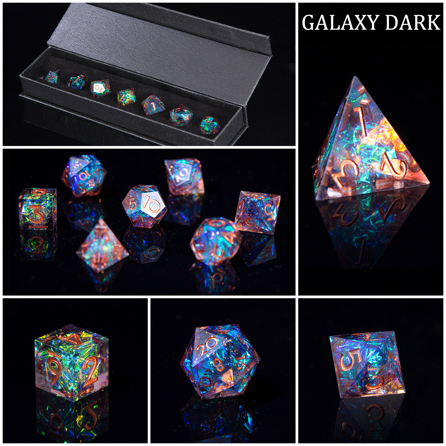 DND Role Playing Game Dice 100% Handcrafted 7-Die Polyhedral Mirror Dice Sets with Sharp Edges and Beautiful Inclusions