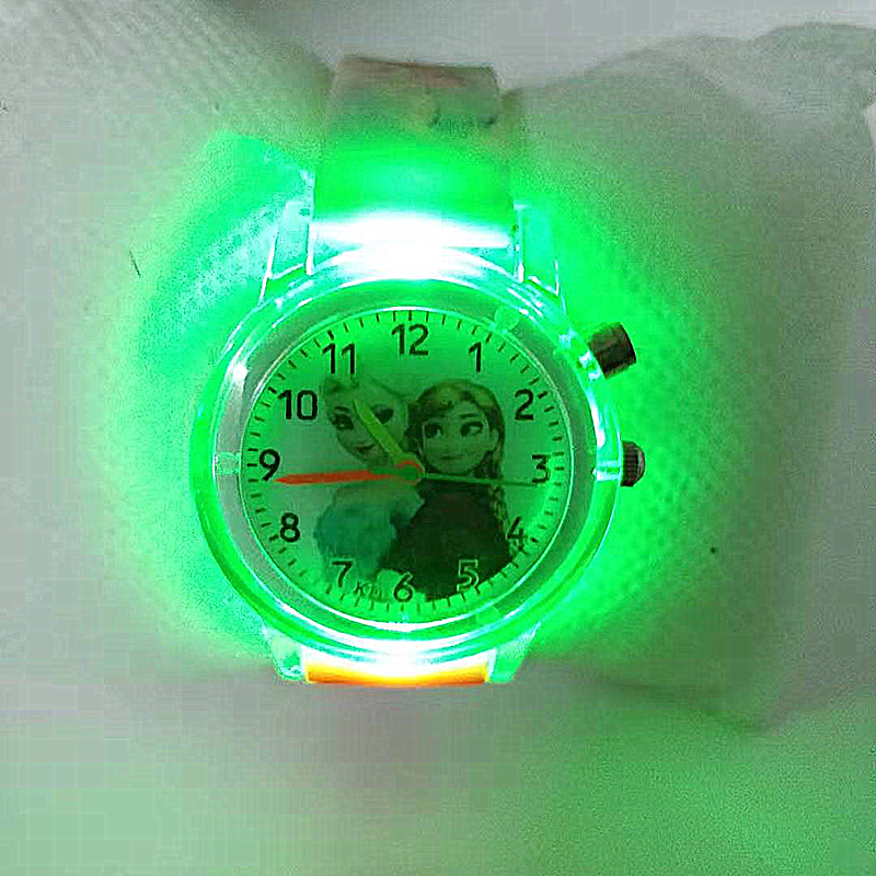 2019 Children's Watch With Electronic Colour Light Source Girls Gift Clocks Children's Wrist Princess Elsa Children's Watch