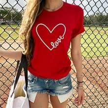 Женские футболки с сердечками повседневные топы принтом love
