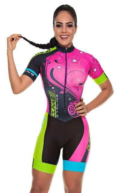 2019 pro equipe triathlon terno feminino camisa de ciclismo skinsuit macacão maillot ciclismo roupas ropa ciclismo conjunto rosa almofada gel 1