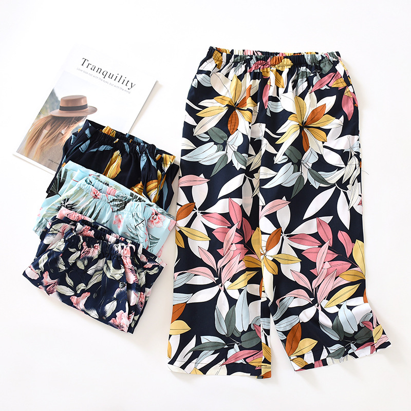 Women's Cotton Pajamas Women's Spring And Summer Multicolor Cropped Pants Thin Section 100% Cotton Home Shorts Mosquito Pants La