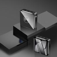 20000 mah qi carregador sem fio power bank para iphone samsung powerbank dupla usb carregador de bateria externa sem fio banco