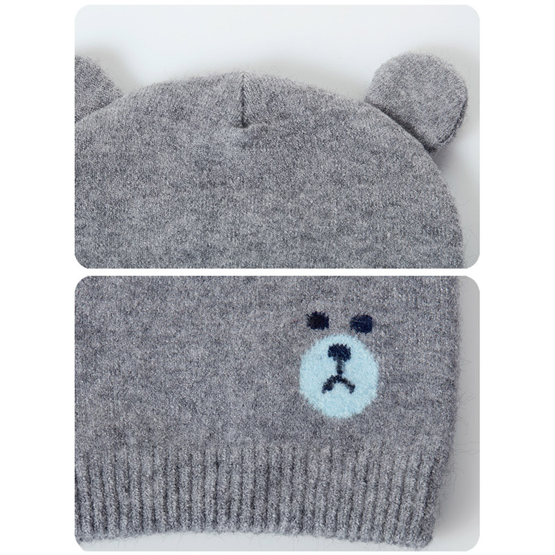 Baby Winter Caps Scarf Suits Warm Knitted Beanie Cap Cute Cartoon Bear Beanie B88