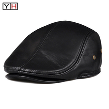 Hat Real-Leather Winter Fashion Warm Autumn Male Man Headgear Genuine-Cowhide-Cap
