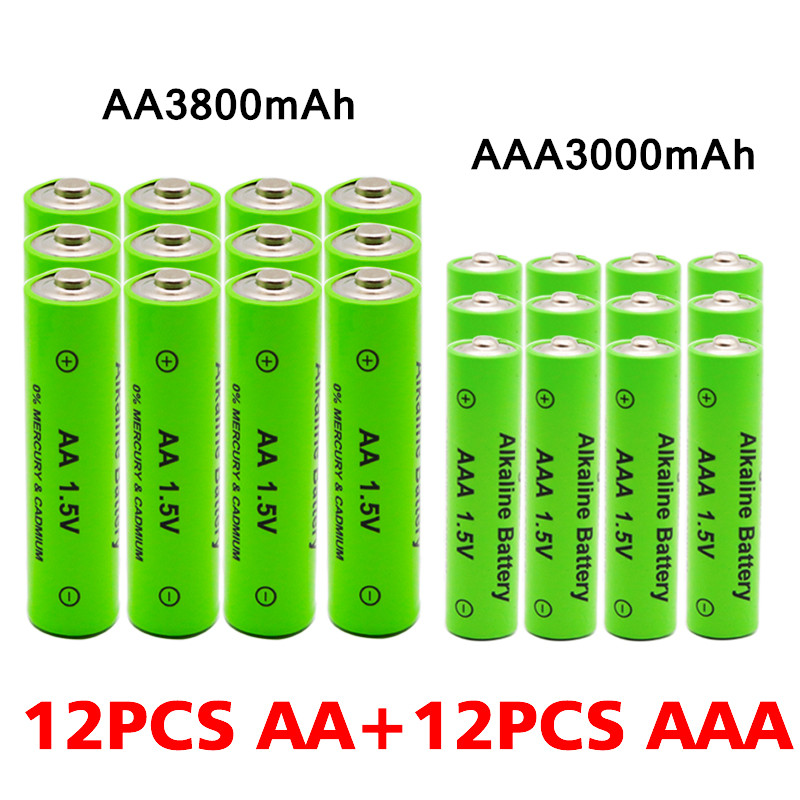 AA + AAA Rechargeable AA 1.5V 3800mAh / 1.5V AAA 3000mah Alkaline Battery Flashlight Toys Watch MP3 Player Replace Ni-Mh Battery 2