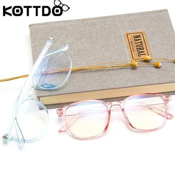 KOTTDO Retro Mens Glasses Frame Fashion Computer Eyeglasses Frame Women Anti-blue Light Transparent Clear Pink Plastic Frame 4