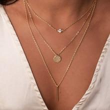 Богемное Золотое геометрическое ожерелье с подвеской из кубического циркония, Женская многослойная подвеска, цепочка для ключицы, женские ...