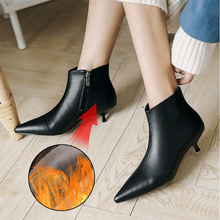 Plus Size 34-43 Fashion Genuine Leather Pointed Toe Low Heeled Boots Pumps Shoes Woman Zipper Ankle Boots Thin Heel Women Boots the new woman thin high heel pointed toe ankle boots fashion back zipper dress boots woman black red