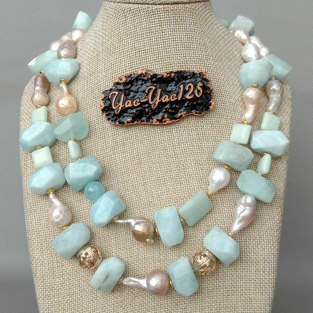 19 ''2 brins rose de culture Keshi perle A1quamarine A1mazonite collier