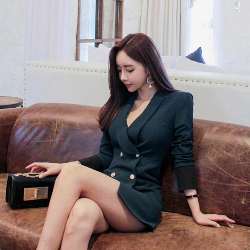 OL 高品質フォーマルノッチ襟パッチワーク女性ビジネスブレザードレスオフィスレディースエレガント帝国ダブルブレスト Vestido