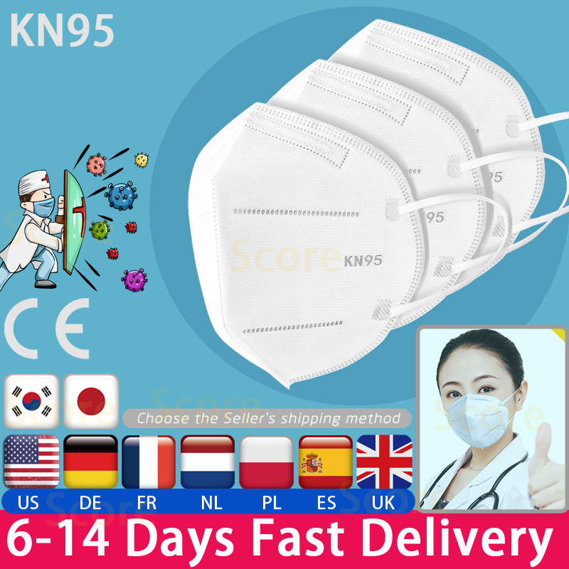 CE Certified KN95 Mask 3 Ply Surgical Mask Disposable Face Mouth Mask Anti-Dust Anti Pollution Non-Woven Mask Free Shipping