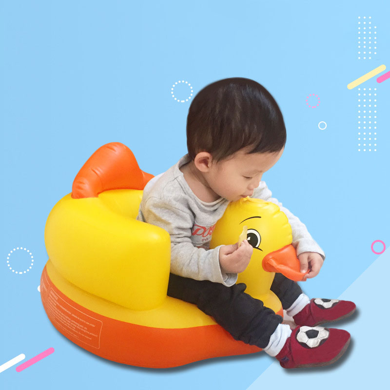 Cute Little Yellow Duck Baby Inflatable Sofa Learning Seat Baby Bath Seat Dining Chair Stool Multifunction Infant Portable Toy