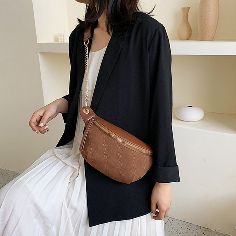 Belt Women Waist Bag Shoulder Chest Messenger Bag Chain Retro Casual Wild Waist Bag