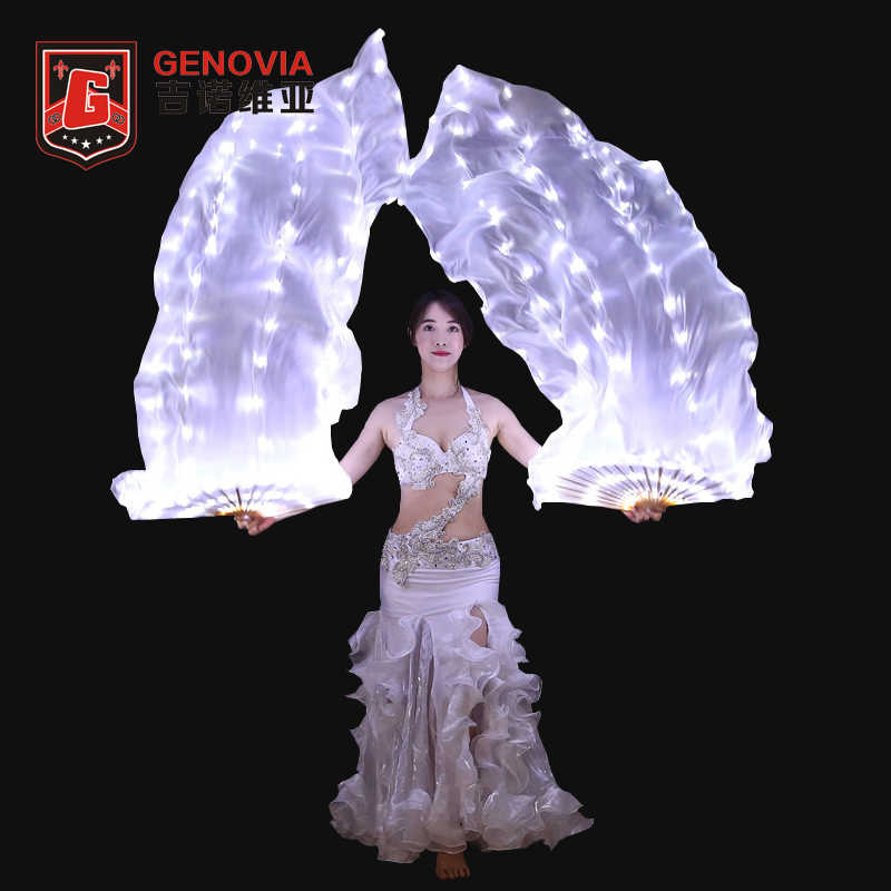 100% Led Bianco Illuminato Velo di Seta Fan Donne di Danza Del Ventre Puntelli Accessori LED Di Seta Fan Velo