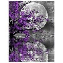 Diamond Embroidery Landscape Full Purple Tree Moon with Round Stones Picture of Rhinestones Art