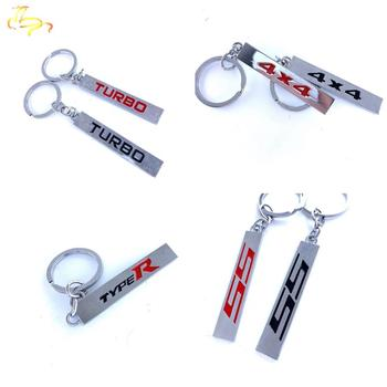 3D Metal Emblem Badge KeyChain Keyring Key Chain FOB Ring for Type-R SS 4X4 TURBO Mustang GT 500 Cobra Shelby Car Styling image