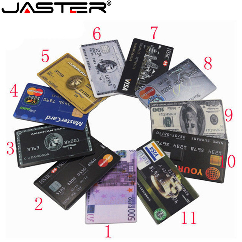 JASTER New Waterproof Super Slim Credit Card USB Flash Drive 32GB Pen Drive 4G 8G 16G Bank Card Model Memory Stick Fashion Gift
