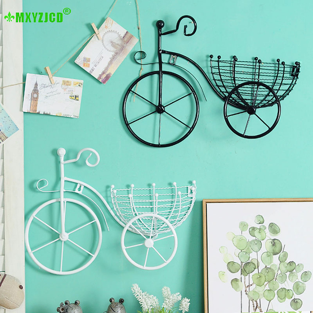 Wrought Iron Bicycle Wall Hanging Flower Basket Suspension Flower Arrangement Container Home Decor Art Decoration 5