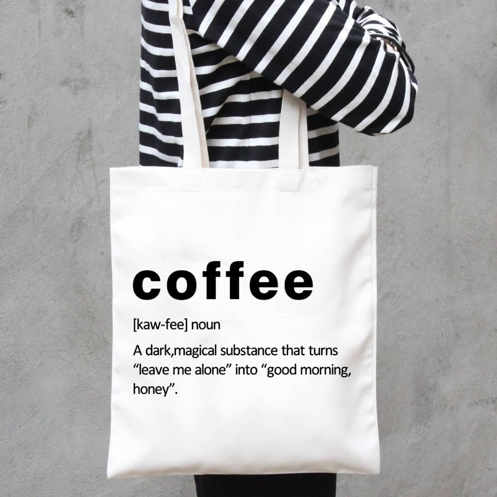 Coffee Definition Fashion Women's Tote Bag Korea Original Cute Canvas Shopping Bag Girl School Students Shoulder Bags