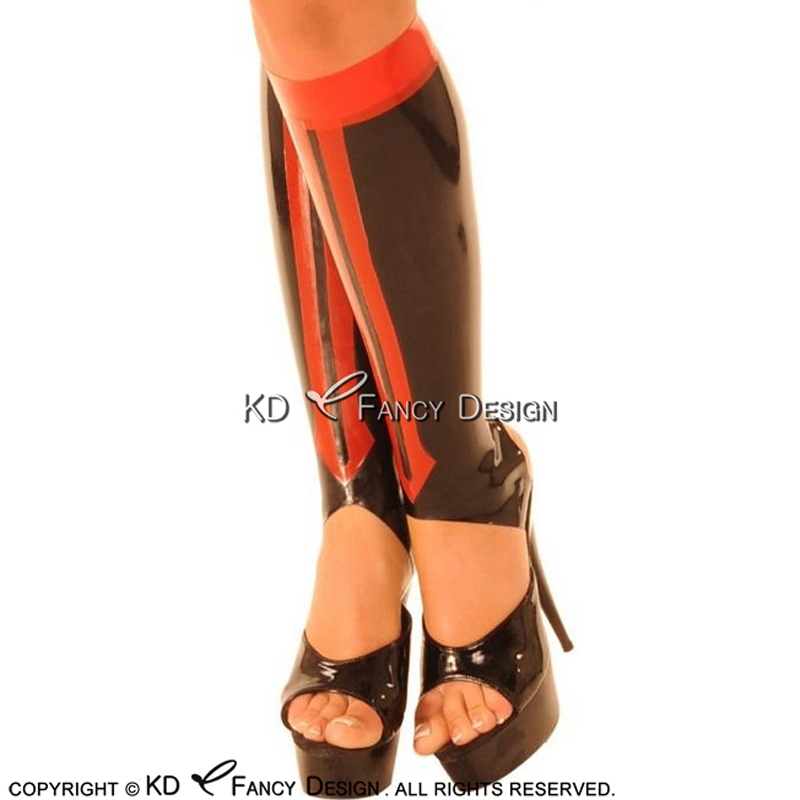 Black And Red Sexy Latex Stocking With Cutting Feet Back Zipper Rubber Stocking WZ-0040