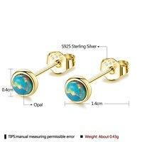 SILVERHOO Sterling Silver 925 Jewelry Exquisite Opal Earrings For Women Blue Opal Cute Small Stud Earring Valentine`s Day Gift