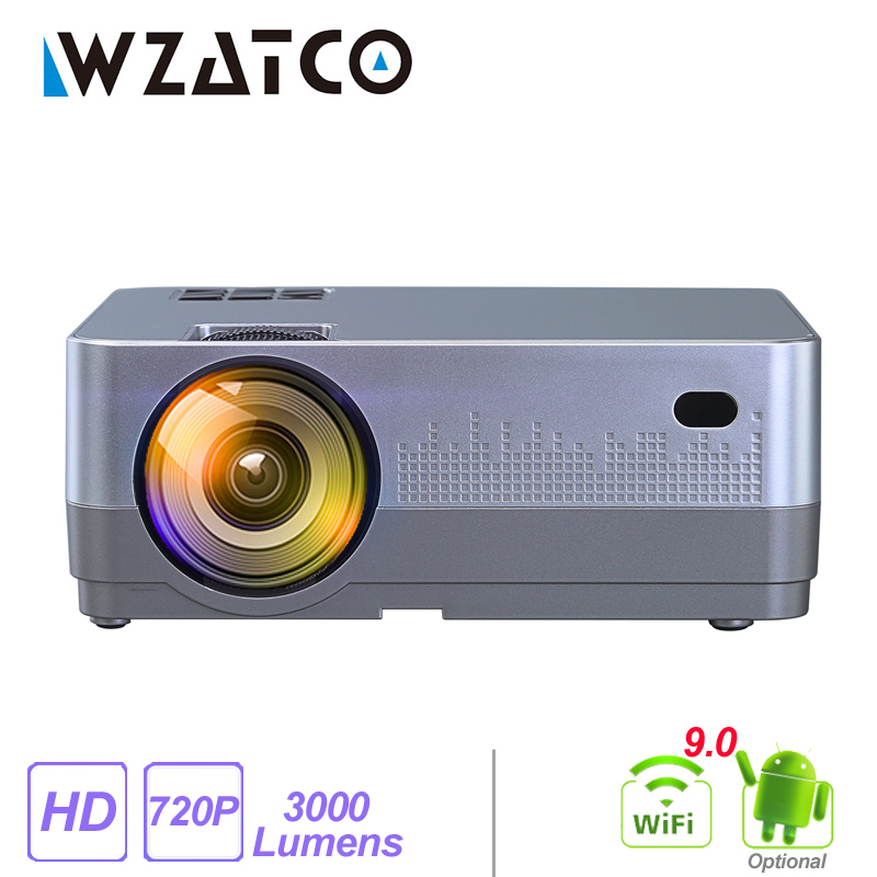WZATCO H2 3000Lumens HD 720P LED Projector Android 9 0 WiFi Full HD 1080P 4K Multimedia