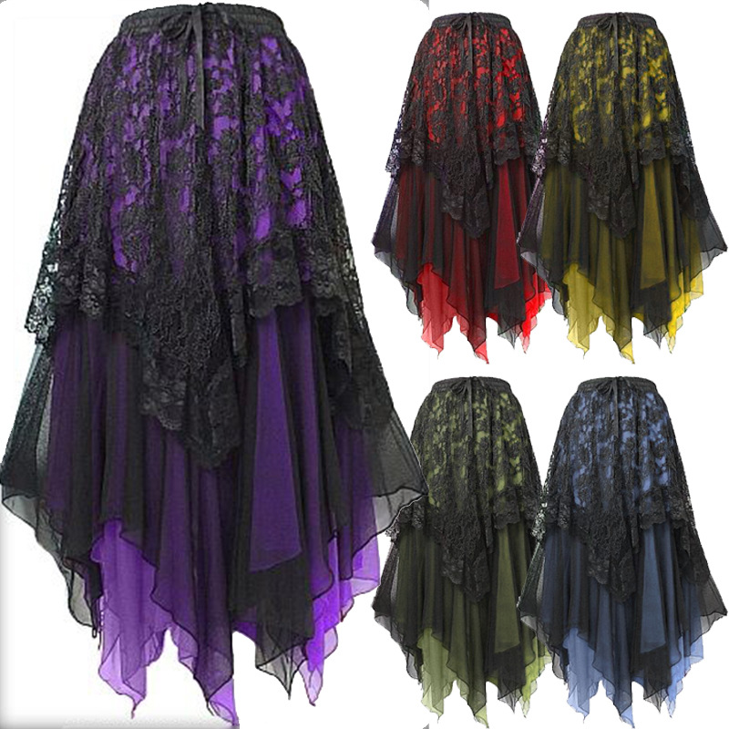 Steampunk Womens Fashion Gothic Style Lace Ruffle Tiered Long Skirt Vintage Victorian Skirt Halloween Party Ball Gowns Cosplay