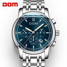 2018 جديد الساعات DOM الرجال ساعة فاخرة كرونوغراف الرجال الساعات الرياضية مقاوم للماء كامل الصلب كوارتز ساعة رجالي Relogio M 75D 1MPE