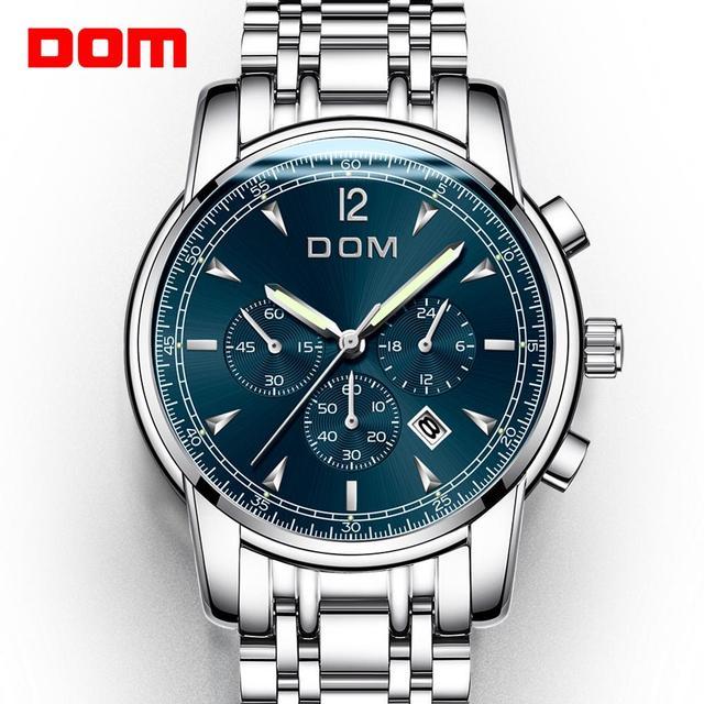 2018 nowe zegarki DOM mężczyźni zegarek luksusowy chronograf mężczyźni sport zegarki wodoodporny pełny stalowy zegarek kwarcowy męski Relogio M 75D 1MPE