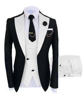 New Costume Slim Fit Men Suits Slim Fit Business Suits Groom Black Tuxedos for Formal Wedding Suits Jacket Pant Vest 3 Pieces 9