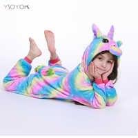 Kigurumi Pyjamas Licorne arc-en-ciel pour enfants bébé filles Pyjamas garçon vêtements de nuit Animal Panda Licorne Onesie enfants Costume combinaison